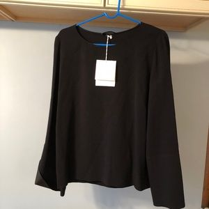 """THE ROW """"Ivy"""" cady bell-sleeve stretch top BLACK"""